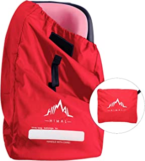 Himal Car Seat Travel Bag - Excellent Gate Check Bag for Airport, Easy Carry with Shoulder Strap and Waist Strap, Protects Universal Child's Car Seat for Travel, Red
