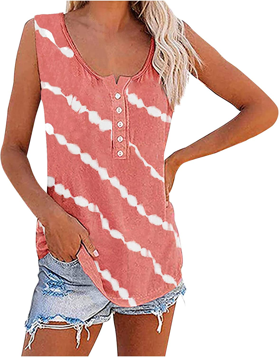 Forwelly Oversize Tank Top for Women Summer Casual Baggy O Neck Vest Tee Fashion Stripe Blouse