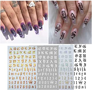 Ultra-Thin Adhesive Handwritten English Letters Black and White Laser Gold and Silver Nail Supplies Nail Art Stickers