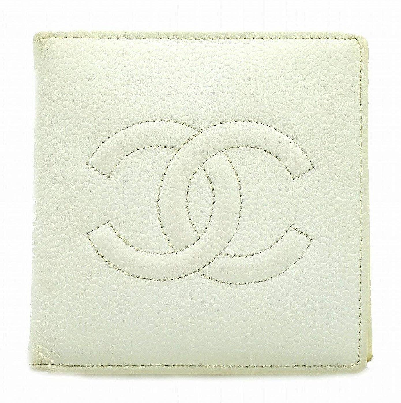 対人等艦隊[シャネル] CHANEL キャビアスキン ココマーク 2つ折財布 型押しレザー 白 オフホワイト