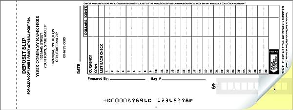 CheckSimple 30 Line Booked Custom 2 Part Deposit Slips 600 Slips