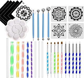 Laelr - Juego de 34 herramientas para pintar con mandala, varillas de acrílico, pincel de pintura, paleta de doble cara, herramientas de puntos, para pintura en roca, repujado, cerámica, manualidades