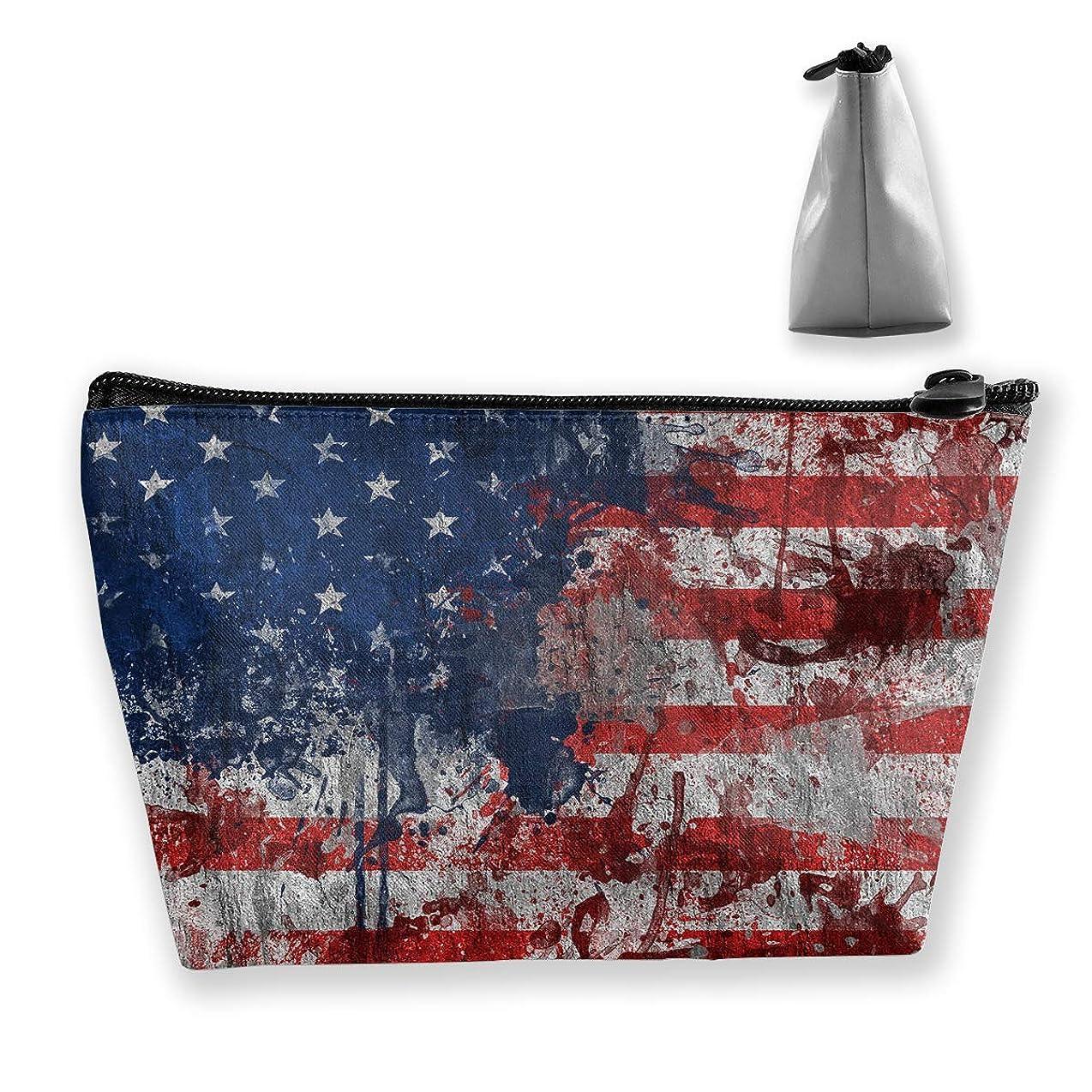 セクタ出くわす無数の台形 レディース 化粧ポーチ トラベルポーチ 旅行 ハンドバッグ 米国の国旗 コスメ メイクポーチ コイン 鍵 小物入れ 化粧品 収納ケース
