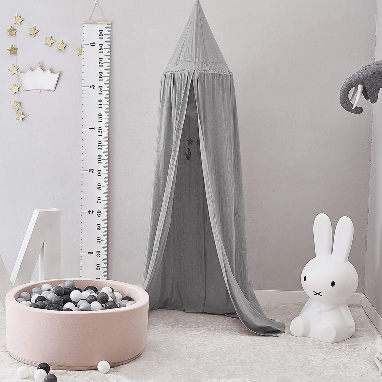 Grau Baby Betthimmel Baldachin Baumwolle Rund Moskitonetz Insektenschutz Kinder Spielzelte Dekoration