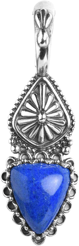 American West Sterling Silver Choice of Color Gemstone Triangular Concha Pendant Enhancer