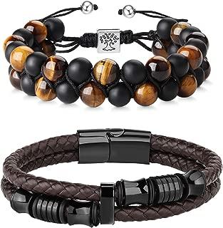 FIBO STEEL Beaded Bracelets Set Natural Stone Tiger Eye Mens Braided Leather Bracelet Bangle Rope