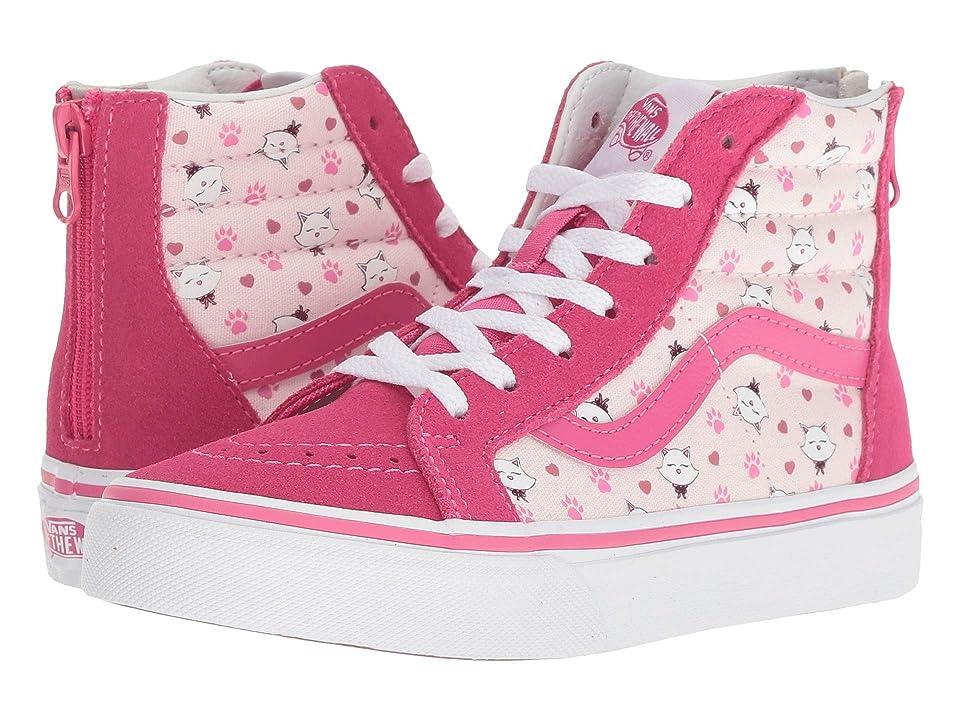 Vans Kids Sk8-Hi Zip (Little Kid/Big Kid) ((Ditsy Kitty) Heavenly Pink/Magenta) Girls Shoes