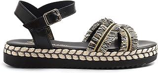 Sandalo in Pelle Nera con Listini e Decorazioni - 1002 Cam Nero - Taglia