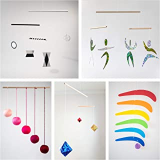 Set of 5 Montessori inspired mobiles - Black and White mobile, Pink Gobbi, Dancers, Octahedron, Rainbow. Montessori mobile...