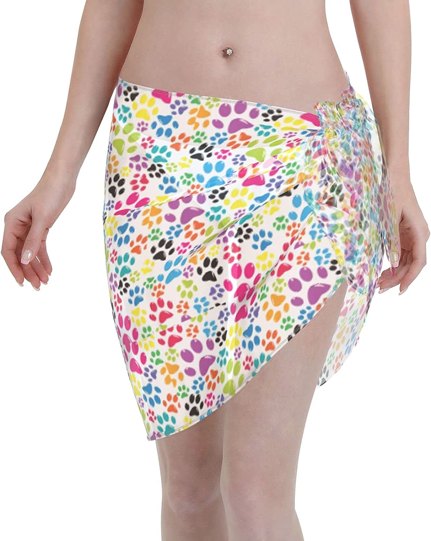 Colorful Little Paws Cute Steps Women Short Sarongs Beach Wrap Sheer Bikini Wraps Chiffon Cover Ups for Swimwear Black