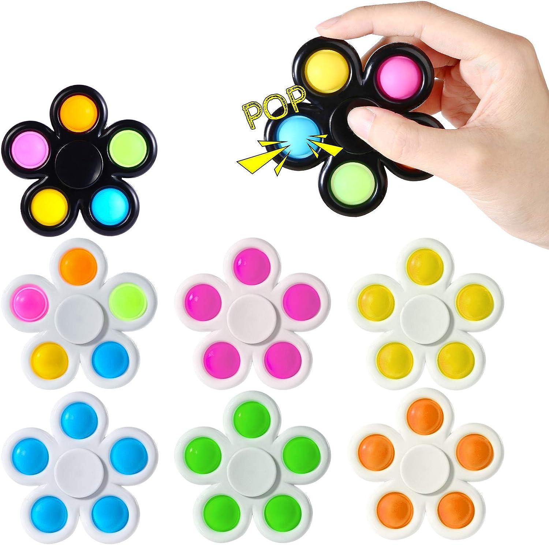 Abodhu Fidget Spinner Pop Toys 7 Pack, Push Poppers Pop Bubble Simple Pop Fidget Toy Set, Party Favor Sensory Fidget Pack Bulk Kit Box, Popping Hand Spinners, Stress Relief for Kids