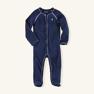 Ralph Lauren Newborn's Contrast Trim Coveralls Navy 6 MO