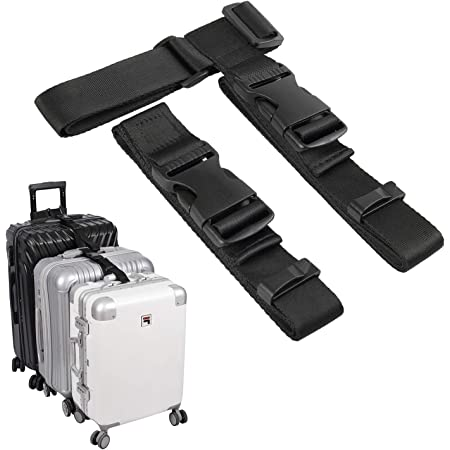 Add A Bag Travel Luggage Strap With Suitcase Handle Wrap for Travel Security with Adjustable Belt Travel Accessories Attachment Strap Black