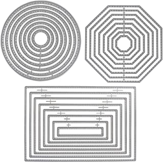 3 Different Shapes of Cutting Dies Stencil Metal Template Molds (Rectangle, Circle & Octagon), SourceTon 24 Pieces Embossi...