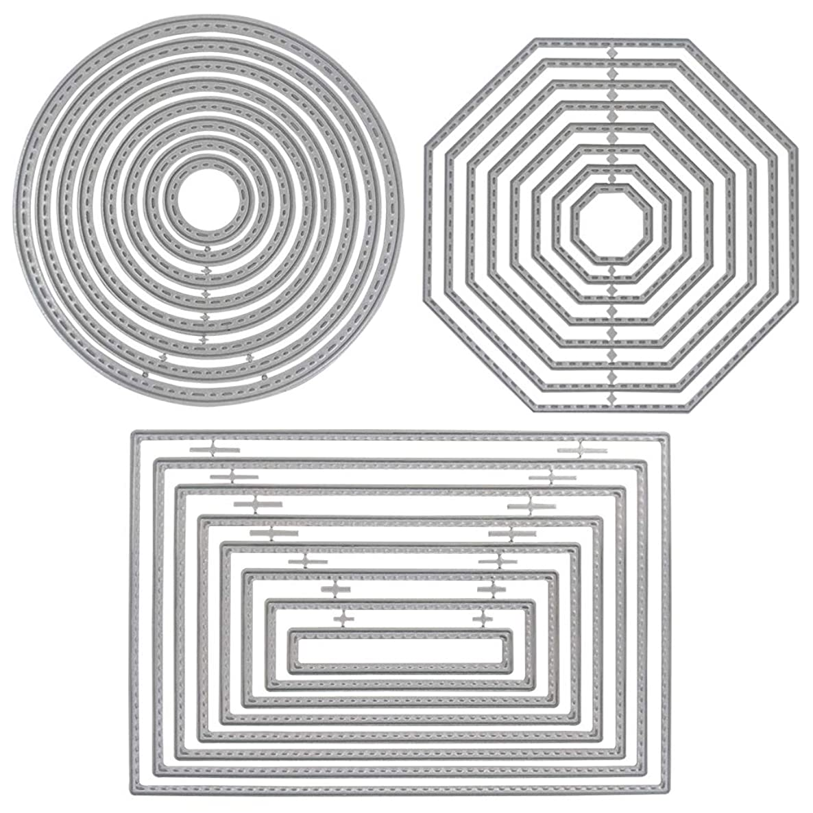 3 Different Shapes of Cutting Dies Stencil Metal Template Molds (Rectangle, Circle & Octagon), DaKuan 24 Pieces Embossing Tools?for Scrapbook, Album Paper DIY Crafts & Card Making