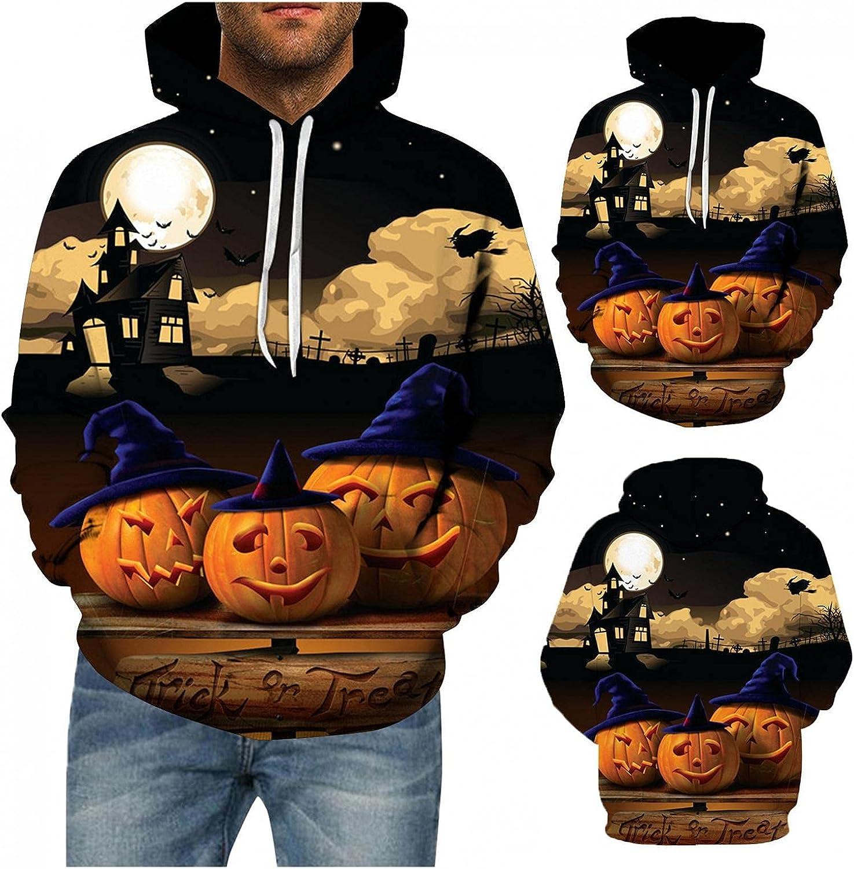 Aayomet Hoodies for Men Fashion Evil Patterns Pullover Men's Hoodies Long Sleeve Kanga Pocket Halloween T-Shirts for Men