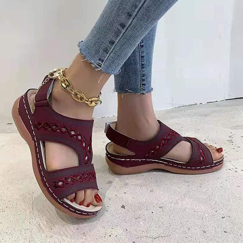 Summer Wedge Sandals for Women Cutout Open Toe Casual Dress Sandals Ankle Adjustable Platform Walking Shoes