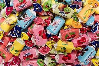Surtido Toffe Mix - Caramelo masticable, con sabores variados (fresa, limón, plátano, leche y cereza), vistosos envoltorios, bolsa de un kilo, sin gluten
