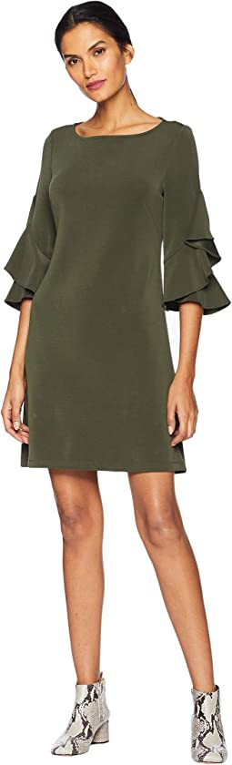 Double Ruffle Sleeve Shift Dress