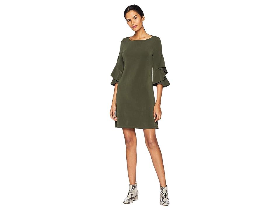 Taylor Double Ruffle Sleeve Shift Dress (Olive) Women