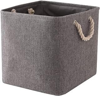 TheWarmHome Decorative Basket Rectangular Fabric Storage Bin Organizer Basket with Handles for Clothes Storage (Grey, 13L×13W×13H)