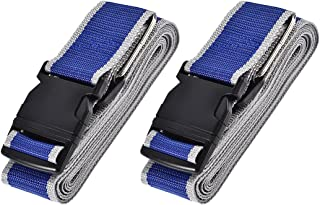 uxcell Luggage Straps Suitcase Belts with Buckle, 4Mx5cm Cross Adjustable PP Travel Packing Accessories, Blue Gray 2Pcs