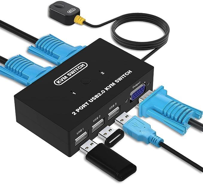 15 opiniones para VGA KVM Switch, USB y VGA Conmutador para 2 PCs un Monitor de Video de 1 Piezas