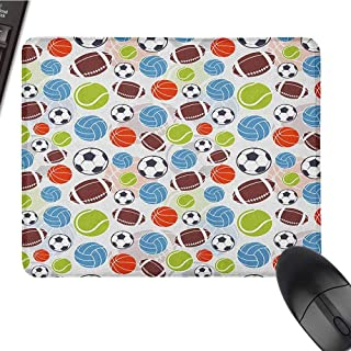 Sport Mouse Pad Bundle Stitched Edges Sports Balls Pattern Abstract Basketball Football Volleyball Tennis Colorful Elements W12xL27.5 Multicolor