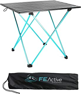 FE Active - Compact Folding Table Built with Full Aluminum Designed as Ultralight Portable Camping Table for Beach, Hiking, Trekking, Backpacking, Camping, Sports Games | Designed in California, USA