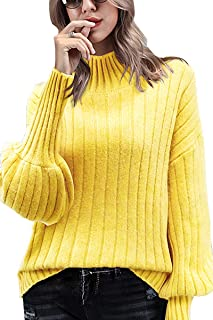 QINSEN Women's High Collar Puff Sleeve Loose Pullover Sweater Knit Jumper Tops