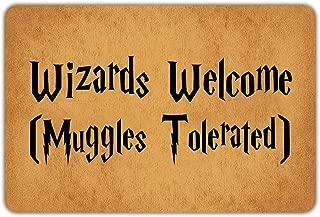 Joelmat Wizards Welcome and Muggles Tolerated Entrance Non-Slip Outdoor/Indoor Rubber Door Mats for Front Door/Garden/Kitchen/Bedroom 23.6
