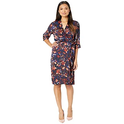 Maggy London Painted Bloom Printed Charmeuse Wrap Dress with Side Cascade (Navy/Coral) Women