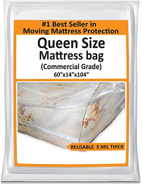 Mattress Bags For Moving Queen Mattress Storage Bag 5 Mil Heavy Duty Thick Plastic Bed Mattress Cover Protector For Moving Queen Reusable Bed Moving Supplies