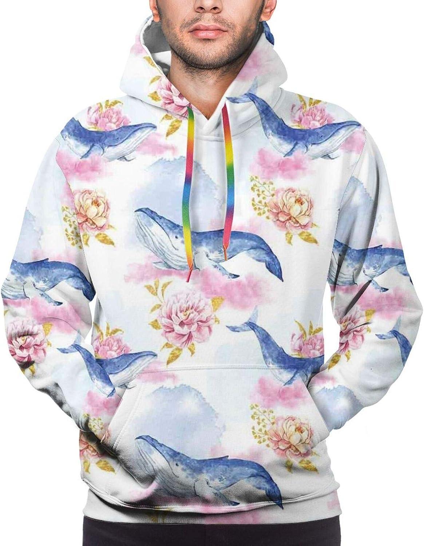 Men's Hoodies Sweatshirts,Romantic Flower Pastel Petals with Whales Exotic Sea Paintbrush Pattern