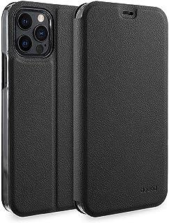doupi Flip Case für iPhone 12 / iPhone 12 Pro (6,1 Zoll), Deluxe Schutz Hülle mit Magnetischem Verschluss Cover Klapphülle Book Style Handyhülle Aufstellbar Ständer, schwarz