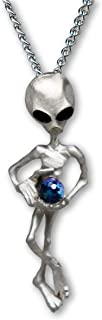 UFO Alien Holding Crystal Ball Silver Finish Pendant Necklace