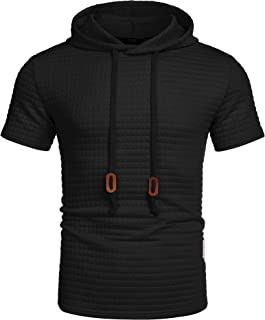 COOFANDY Men's Fashion Athletic Hoodies Short Sleeve Workout Gym Hipster Jacquard Pullover Hooded T-shirt