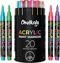 Acrylic Paint Pens for Rock Painting, Stone, Ceramic, Glass, Wood, Canvas - Set of 20 Colors, Extra Fine Tip Water Based P...