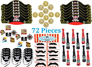Pirate Party Favors, Birthday Pack for 12 Kids - 72 Pieces - Toys and Novelty Items - Hat, Eye Patch, Mustache, Spyglass, Coins and Tattoos