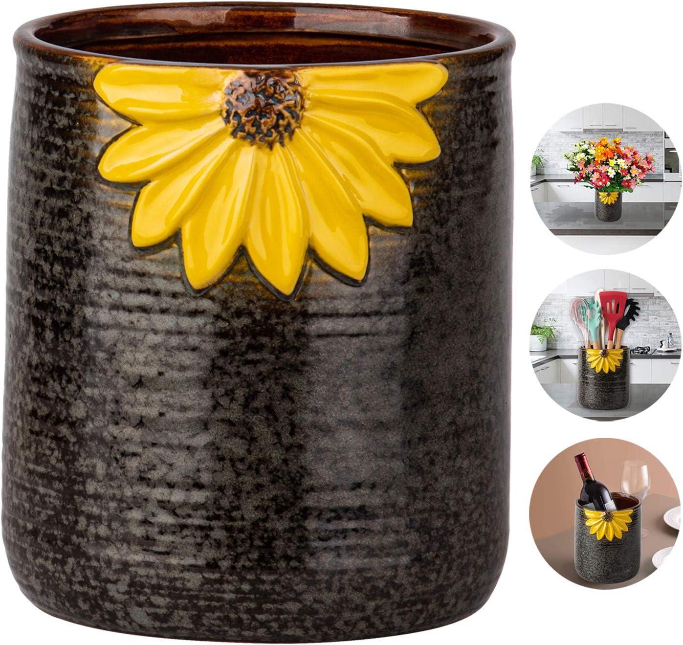 Utensil Crock, Kitchen Utensil Holder, Ceramic Utensil Holder for Countertop, Cooking Utensil Holder for Kitchen Sunflower Decor Large Kitchen Spatula Holder