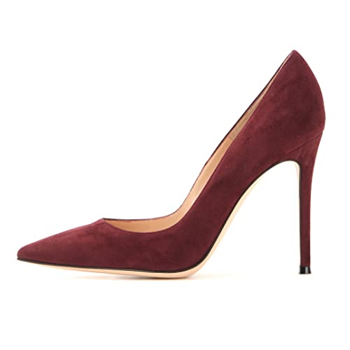 8feb315bb2a Sammitop Women s Pointed Toe Pumps 10cm Classic Stiletto Heel Suede Shoes