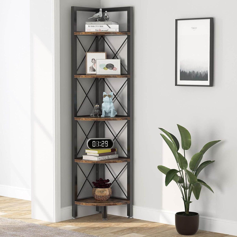 Corner Shelves 5 Tier Memphis Mall Bookshelf Rustic Bookcase Cheap Cor and
