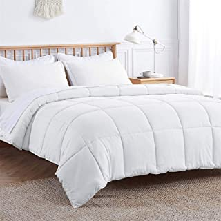 VEEYOO White Comforter Set Twin Size - All Season Soft Quilted Down Alternative Duvet Insert with Corner Tabs - Plush Micr...