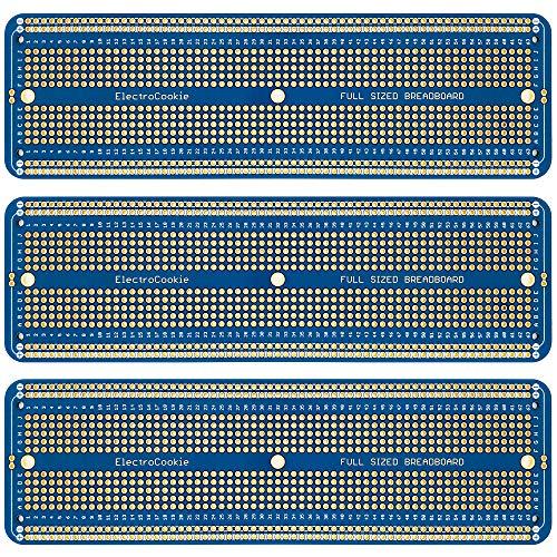 ElectroCookie - placa de circuito impreso prototipo PCB Breadboard de tamaño completo para proyectos de Arduino y Electrónica, Chapado en Oro (3 Unidades, Azul)