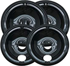 KITCHEN BASICS 101 WB31M20 and WB31M19 Replacement Range Cooktop Porcelain Drip Pans for GE - Includes 2 6-Inch and 2 8-In...