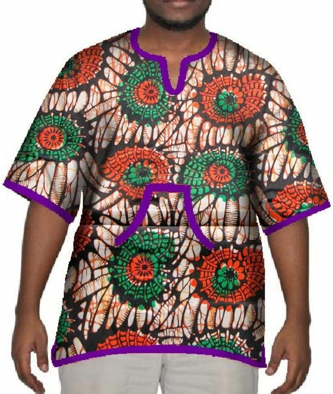 Vska Men's Mulit color African Print Batik Oversized Tops T Shirts