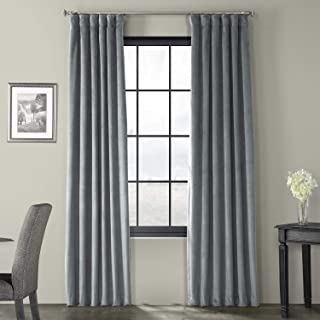 Half Price Drapes VPCH-184005-84 Signature Blackout Velvet Curtain, Natural Grey, 50 X 84