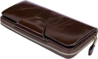 Luxury Women's RFID Blocking Tri-fold Leather Wallet Zipper Ladies Clutch