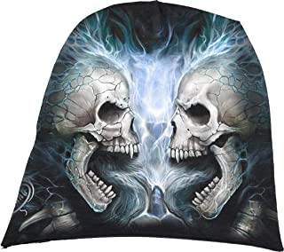 Spiral Direct ASCENSION beanie hat biker//gothic//skulls//wings//light cotton//grey