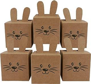 Papierdrachen 12 pudełek na prezenty w kształcie zajączka wielkanocnego – pudełka z uszami, pompotem i twarzą – 7 cm x 7 c...